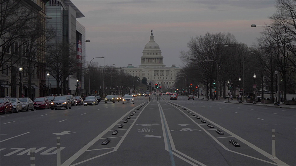 United States Capitol Building and Pennsylvania Avenue at dusk, Washington DC, United States of America, North America