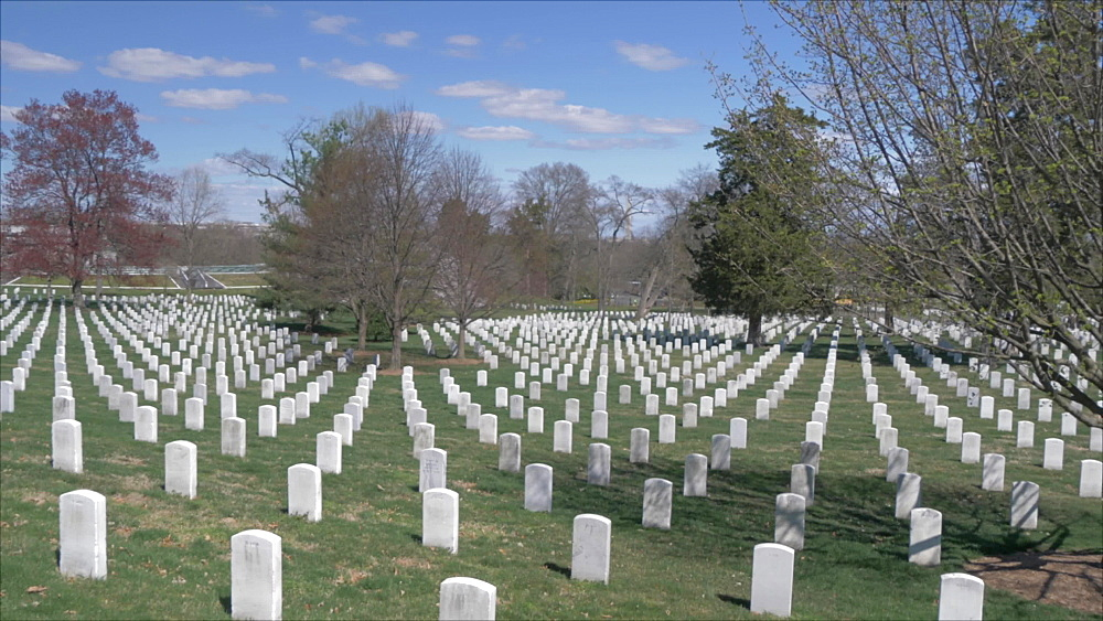 Pan shot of military grave stones in Arlington National Cemetery during springtime, Washington DC, United States of America, North America