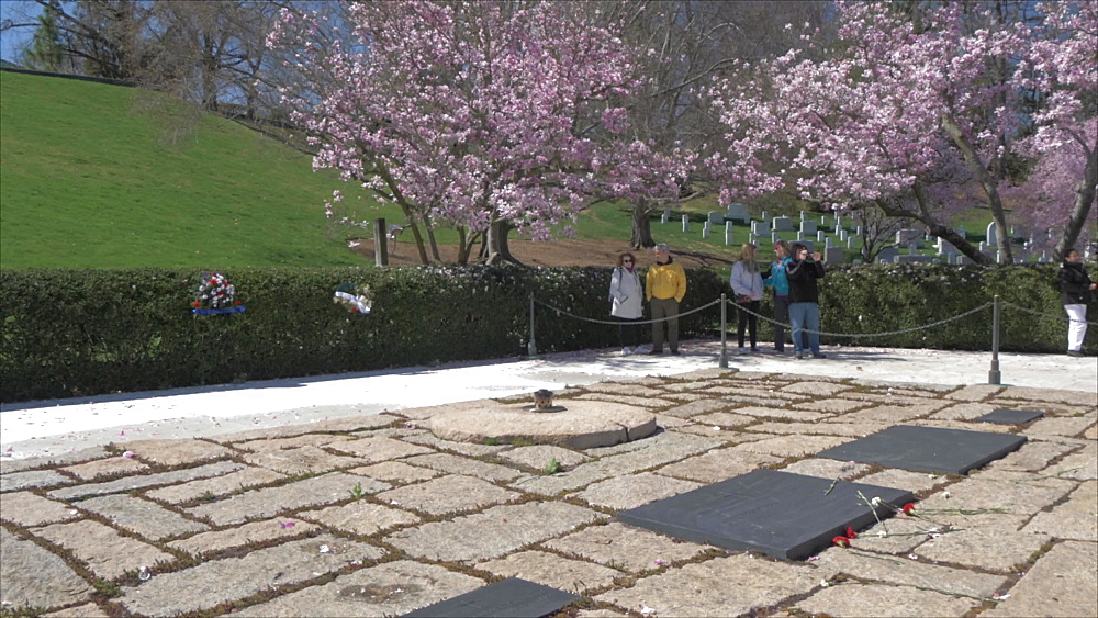 President John F. Kennedy Gravesite in Arlington National Cemetery during springtime, Washington DC, United States of America, North America