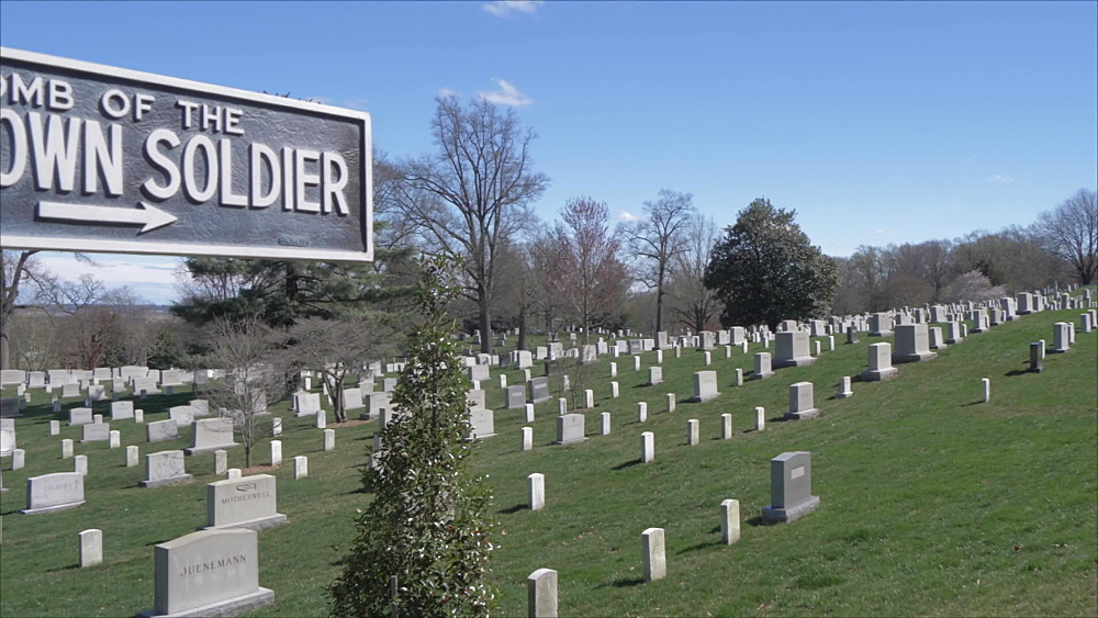 Unknown Soldier sign in Arlington National Cemetery during springtime, Washington DC, United States of America, North America