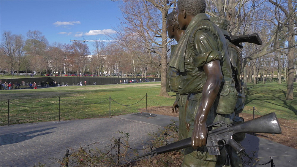 Three Servicemen Statue and Vietnam Veterans Memorial visible in background, Washington DC, United States of America, North America