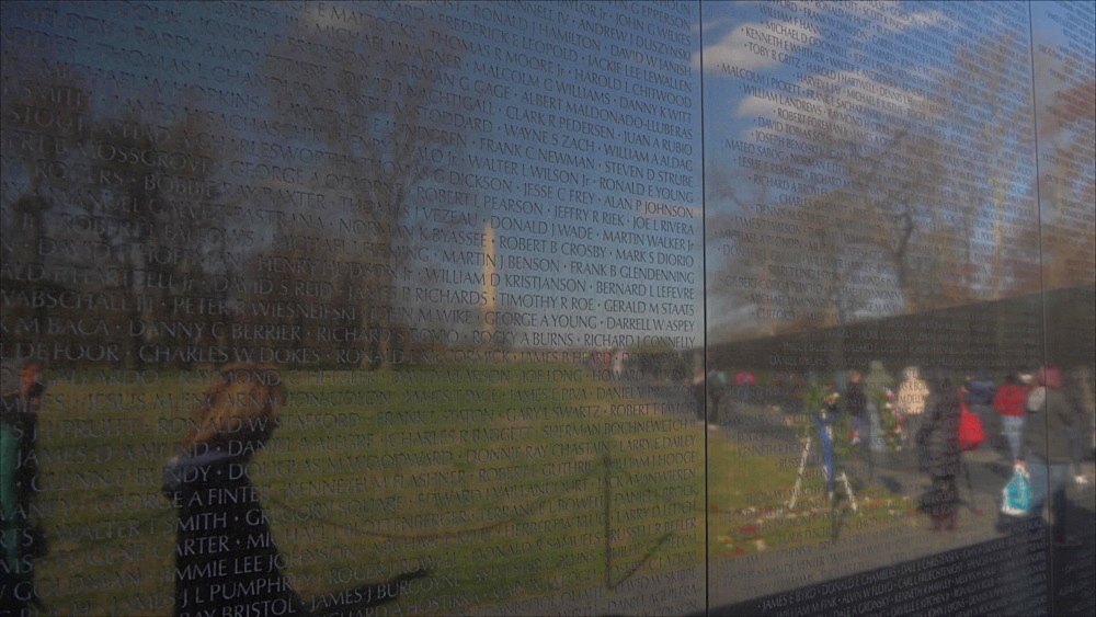 Vietnam Veterans Memorial, reflecting Washington Monument, Washington DC, United States of America, North America - 844-20163