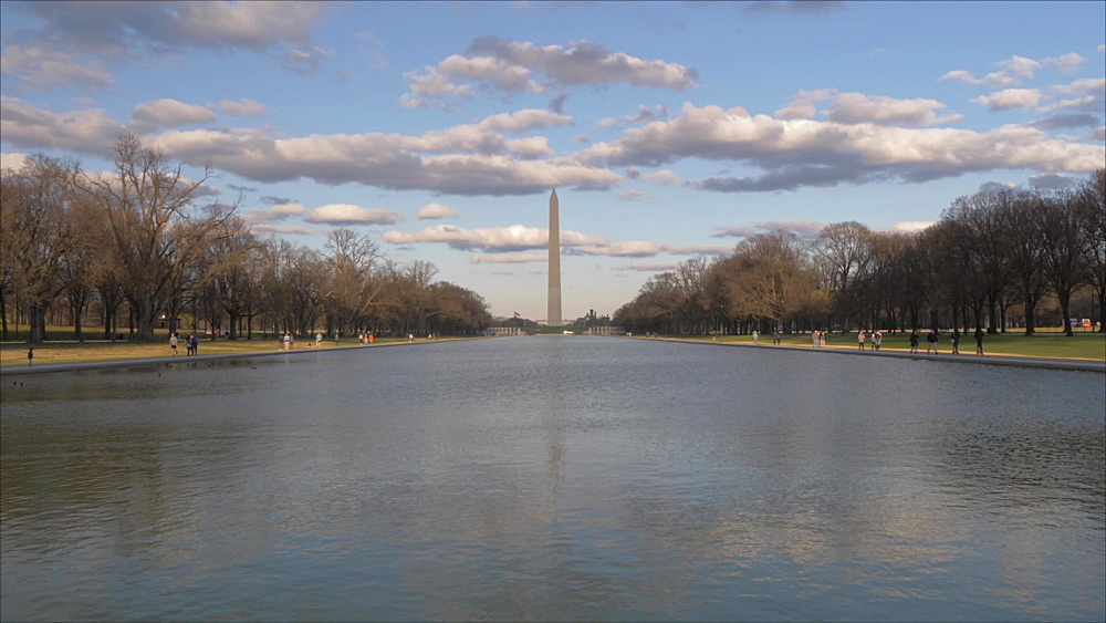 Still shot of Washington Monument and Reflecting Pool at sunset from Lincoln Memorial, Washington DC, District of Columbia, USA, North America