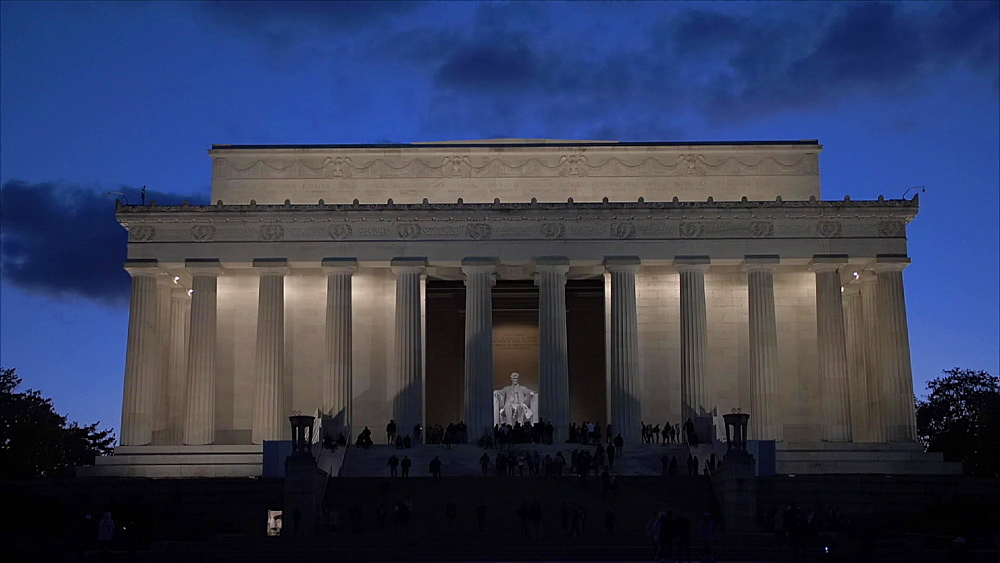 Tilt shot of exterior of Lincoln Memorial at night, Washington DC, District of Columbia, USA, North America - 844-20178