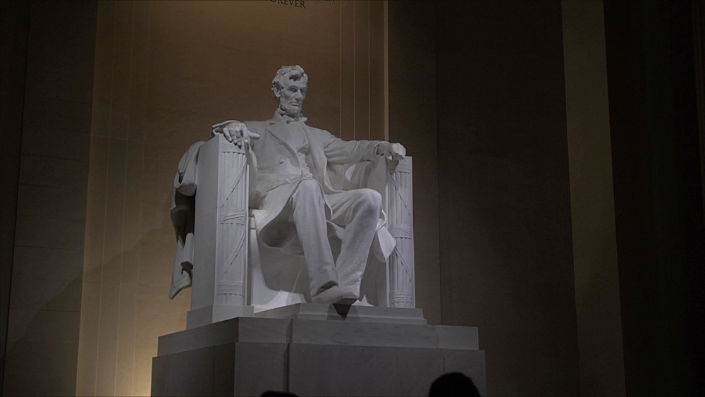 Pan shot of interior Lincoln Memorial at night, Washington DC, District of Columbia, USA, North America - 844-20179