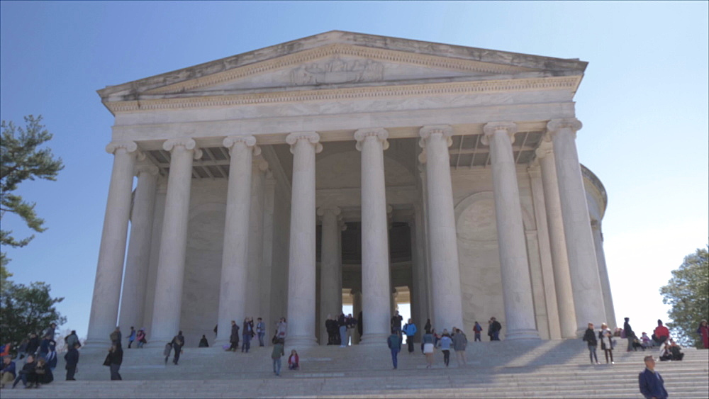 Tracking shot of Thomas Jefferson Memorial exterior, Washington DC, District of Columbia, USA, North America