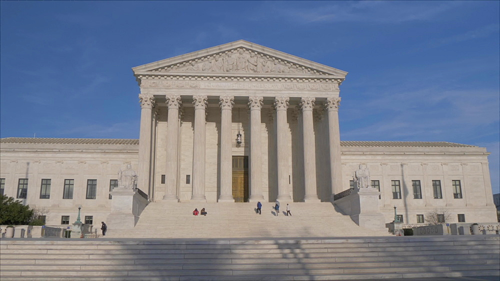 Tracking shot of Supreme Court of the United States, Washington DC, District of Columbia, USA, North America