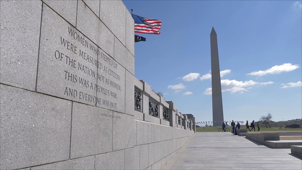 Slider shot of the Washington Monument from World War ll Memorial, Washington DC, District of Columbia, USA, North America