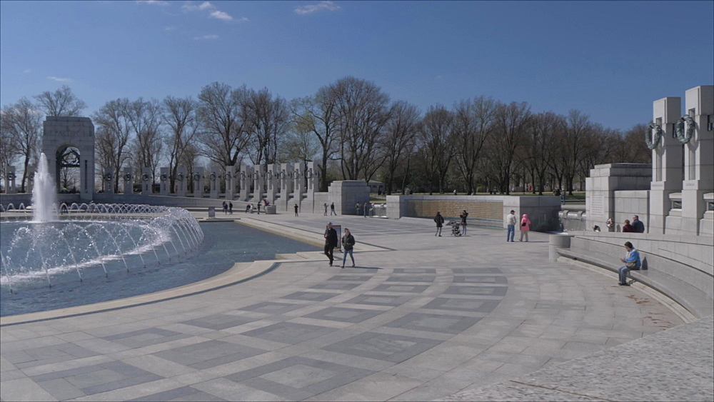 The fountains of the World War ll Memorial, Washington DC, United States of America, North America