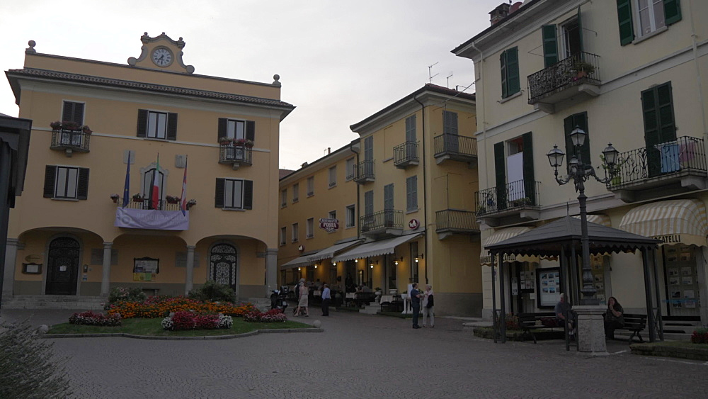 Lakeside architecture on main street in Baveno at dusk, Lake Maggiore, Piedmont, Italian Lakes, Italy, Europe