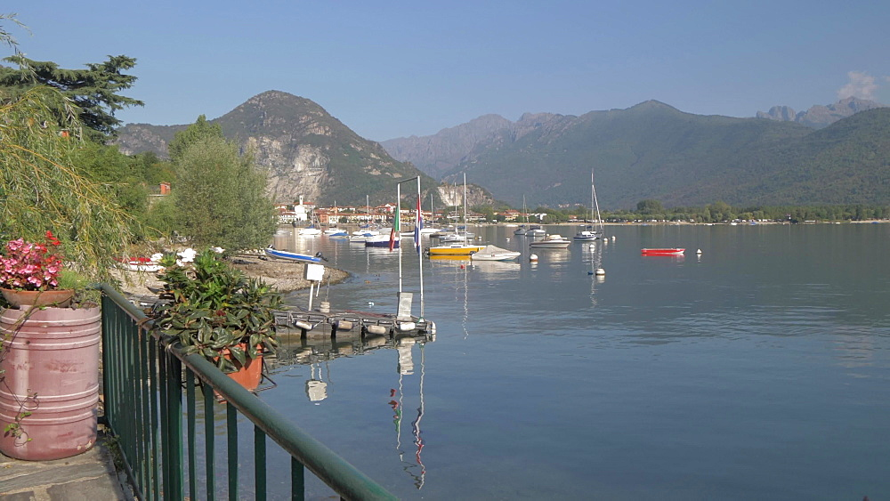 Lake and Feriolo in morning sunshine, Lake Maggiore, Piedmont, Italian Lakes, Italy, Europe
