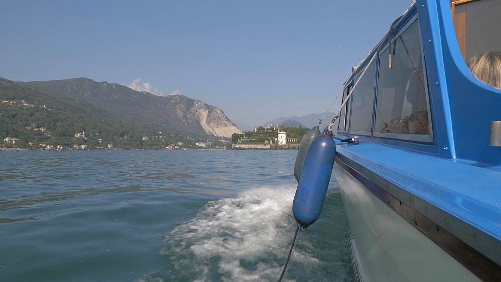 Onboard boat shot to Borromean Islands from Stresa, Lake Maggiore, Piedmont, Italian Lakes, Italy, Europe