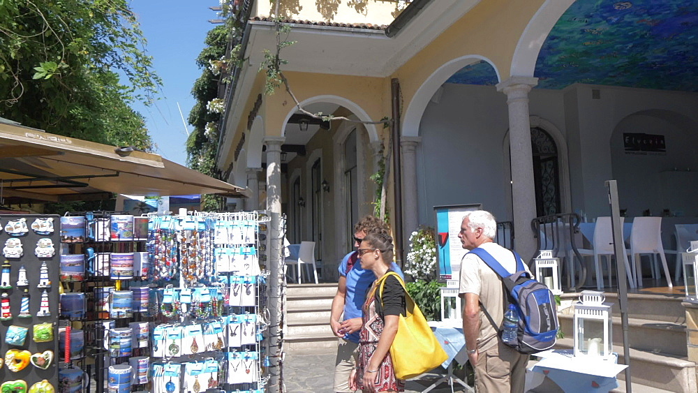 Souvenir stalls and cafes on Isola Bella, Lake Maggiore, Piedmont, Italian Lakes, Italy, Europe