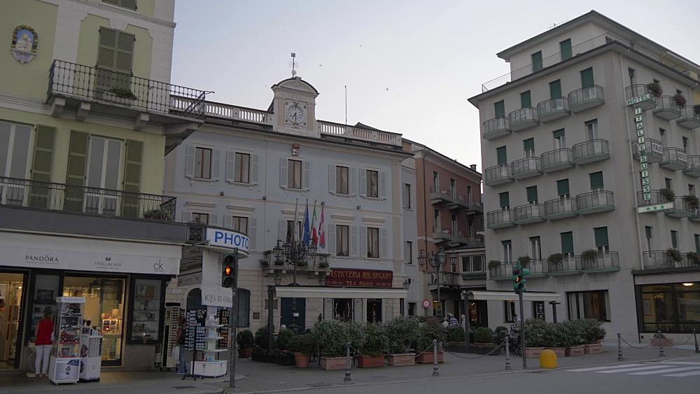 Stresa town at dusk, Stresa, Lake Maggiore, Piedmont, Italian Lakes, Italy, Europe