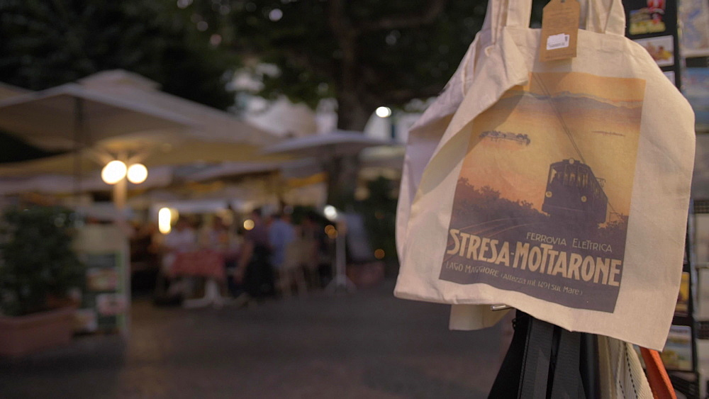 Piazza Cadorna in Stresa town at dusk, Stresa, Lake Maggiore, Piedmont, Italian Lakes, Italy, Europe