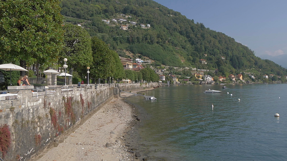 Cannero Riviera from lakeside position, Lake Maggiore, Piedmont, Italian Lakes, Italy, Europe