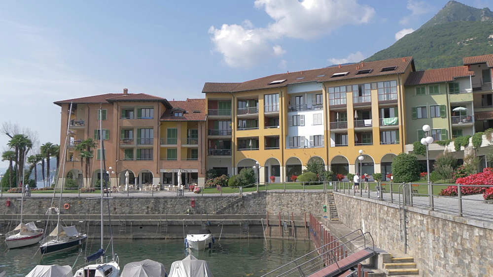 Harbour at Cannero Riviera from lakeside position, Lake Maggiore, Piedmont, Italian Lakes, Italy, Europe