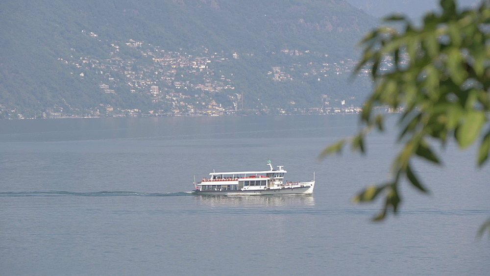 Elevated view of ferryboat near Cannobio on Lake Maggiore, Lake Maggiore, Piedmont, Italian Lakes, Italy, Europe