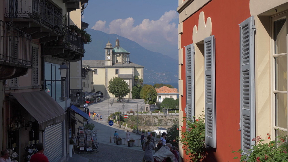 Narrow street and view to harbour in Cannobio on Lake Maggiore, Lake Maggiore, Piedmont, Italian Lakes, Italy, Europe