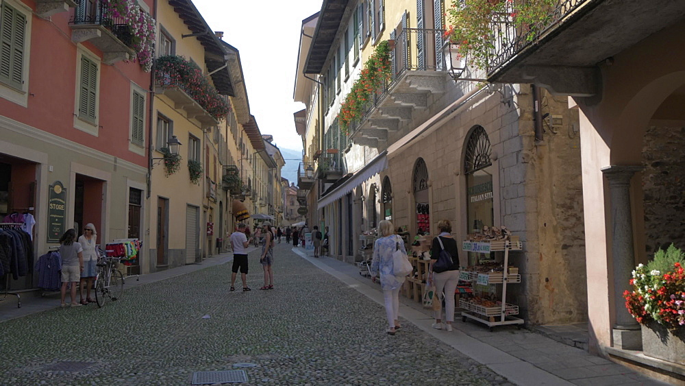 Narrow street in Cannobio on Lake Maggiore, Lake Maggiore, Piedmont, Italian Lakes, Italy, Europe