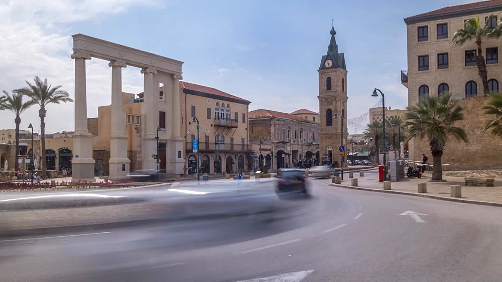 Time lapse of The Clock Tower, Old Jaffa Town, Tel Aviv, Israel, Middle East