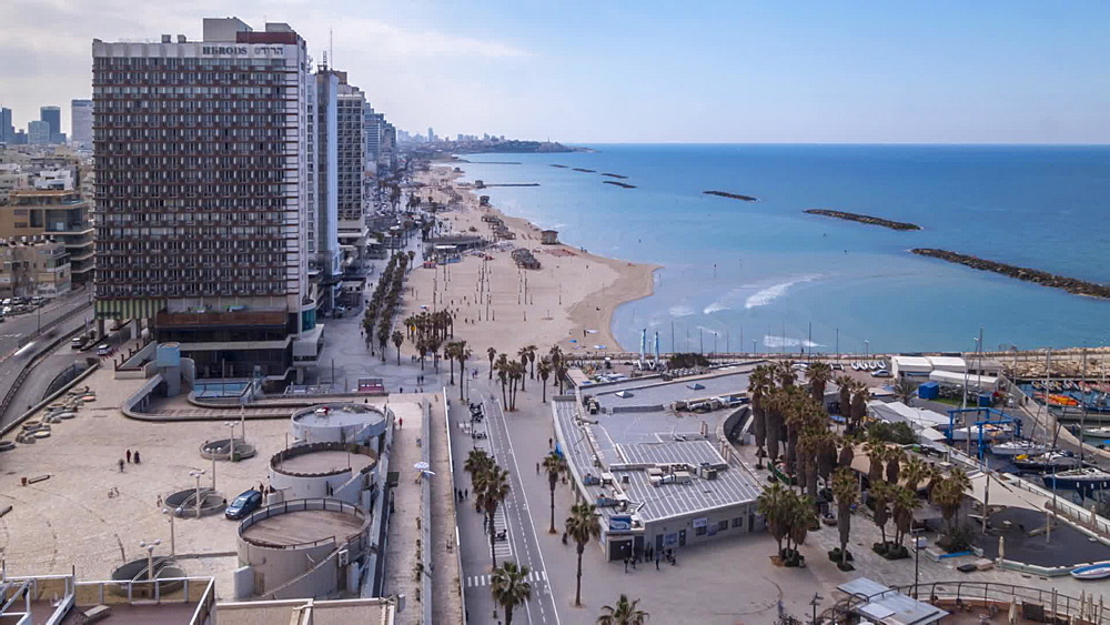 Time lapse of hotels and beaches towards Jaffa Old Town, Tel Aviv, Israel, Middle East