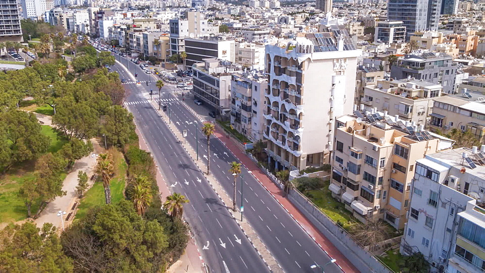 Time lapse of traffic on Ha Yarkon Street from elevated position, Tel Aviv, Israel, Middle East