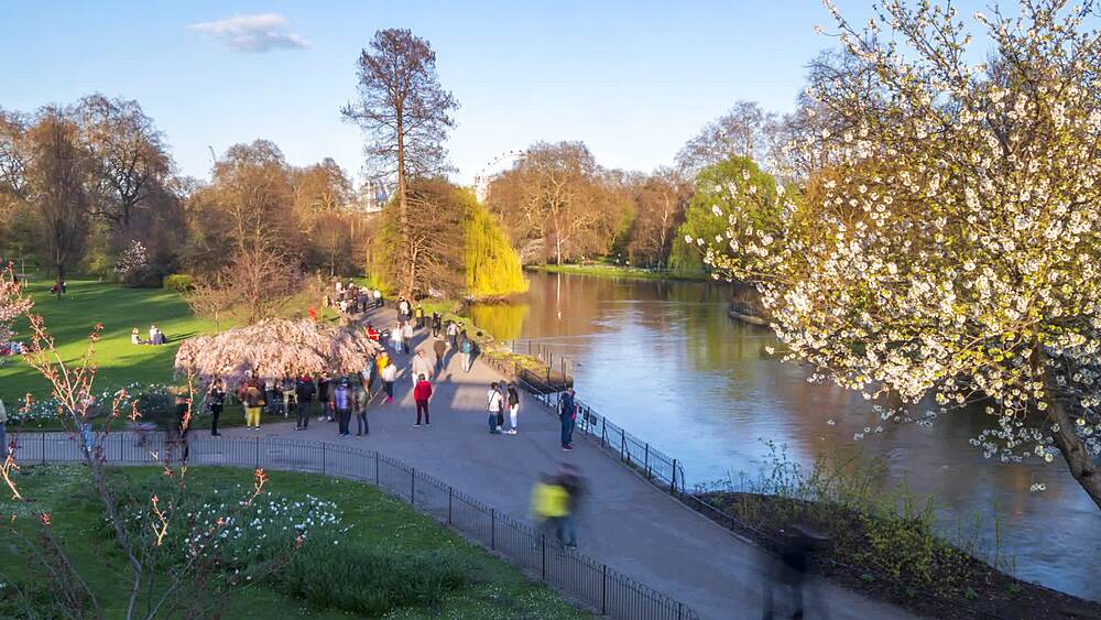 Time lapse of people round St. James's Lake, St. James's Park, London, England, United Kingdom, Europe