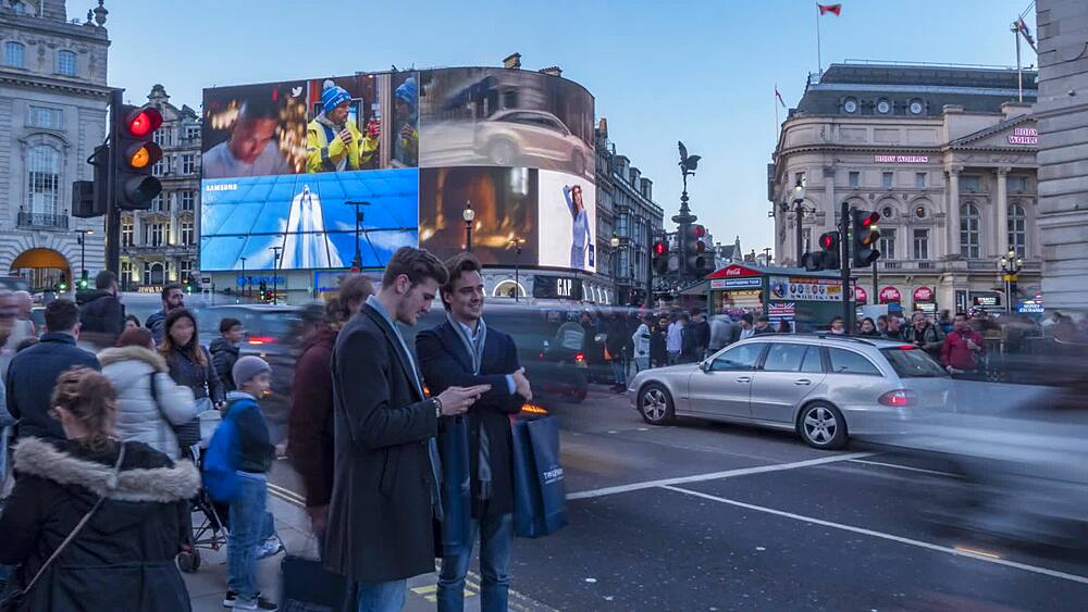 Time lapse of people and traffic in Piccadilly Circus, London, England, United Kingdom, Europe