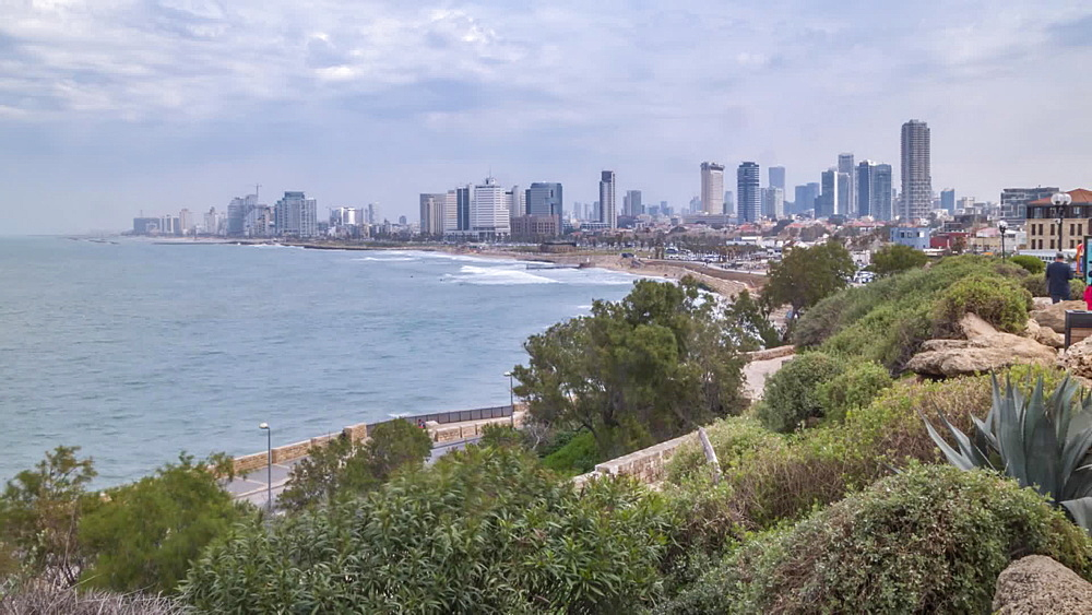 Tel Aviv skyline and sea, Old Jaffa Town, Tel Aviv, Israel, Middle East