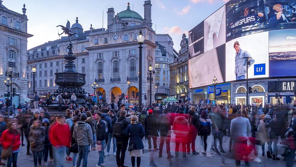 Time lapse of people and traffic in Piccadilly Circus, London, England, United Kingdom, Europe - 844-20388