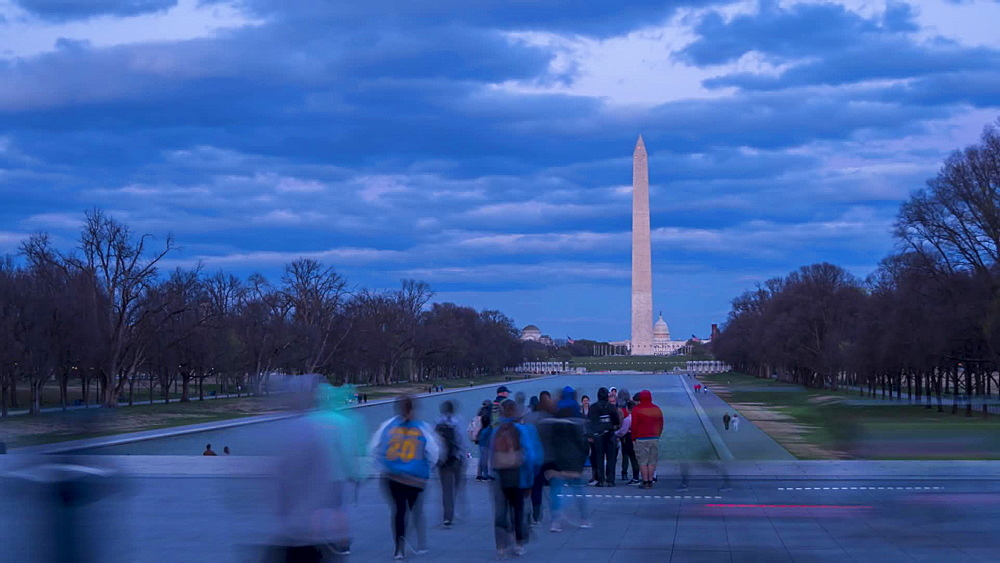 Time lapse video of people on National Mall and Washington Monument from Lincoln Memorial, Washington DC, United States of America, North America