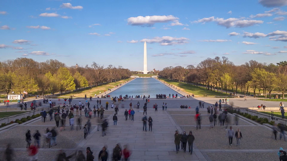 Time lapse of people on National Mall and Washington Monument from Lincoln Memorial, Washington DC, United States of America, North America