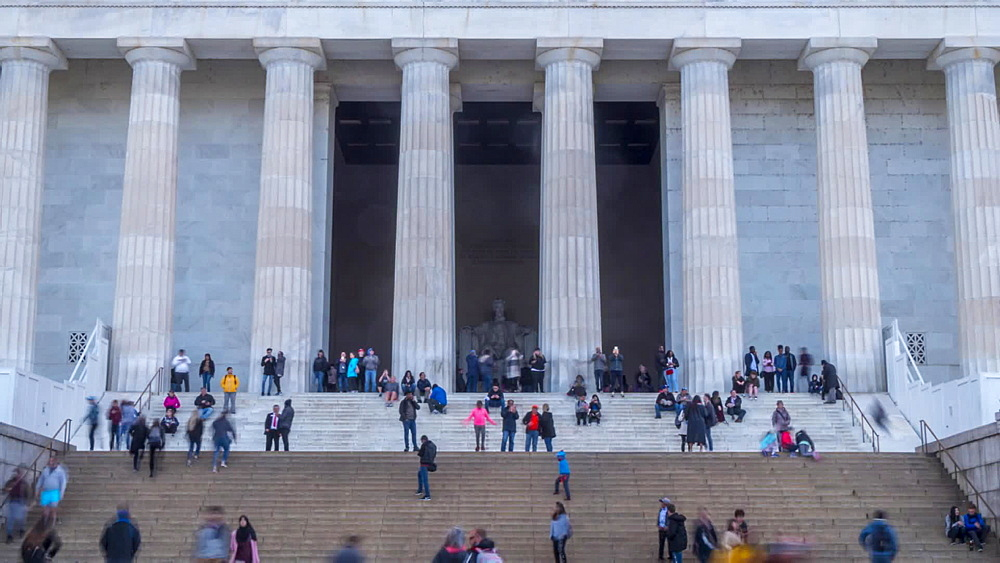 Time lapse of people on steps of Lincoln Memorial, Washington DC, United States of America, North America