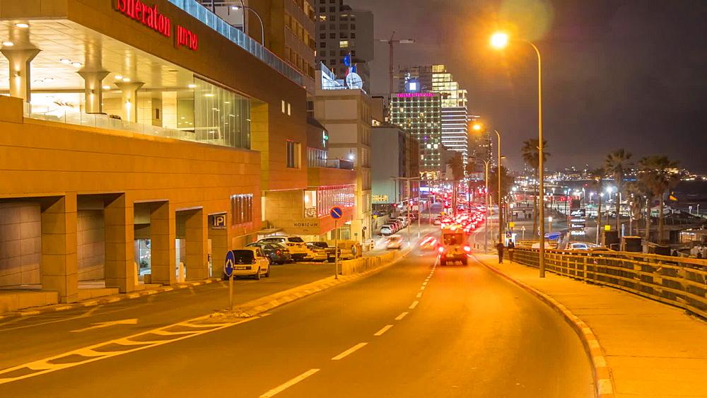 Time lapse of traffic on Retsif Herbert Samuel Street at night, Tel Aviv, Israel, Middle East