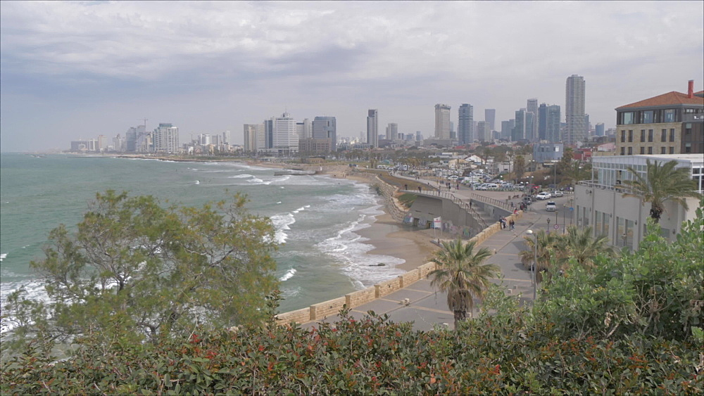 Pan shot of sea and Tel Aviv skyline from Jaffa Old Town, Tel Aviv, Israel, Middle East