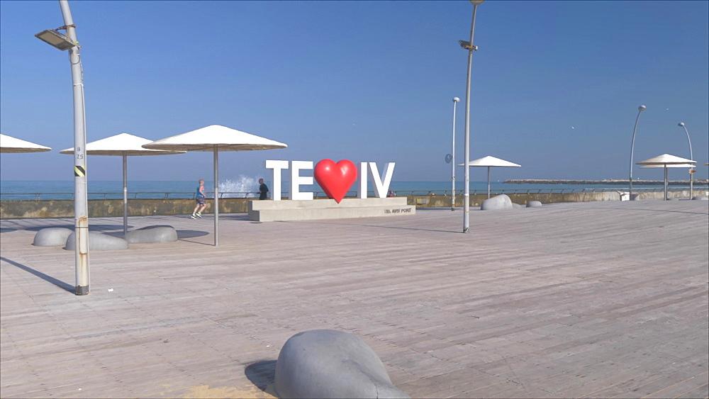 Tel Aviv sign in Old Tel Aviv Port Area, Tel Aviv, Israel, Middle East