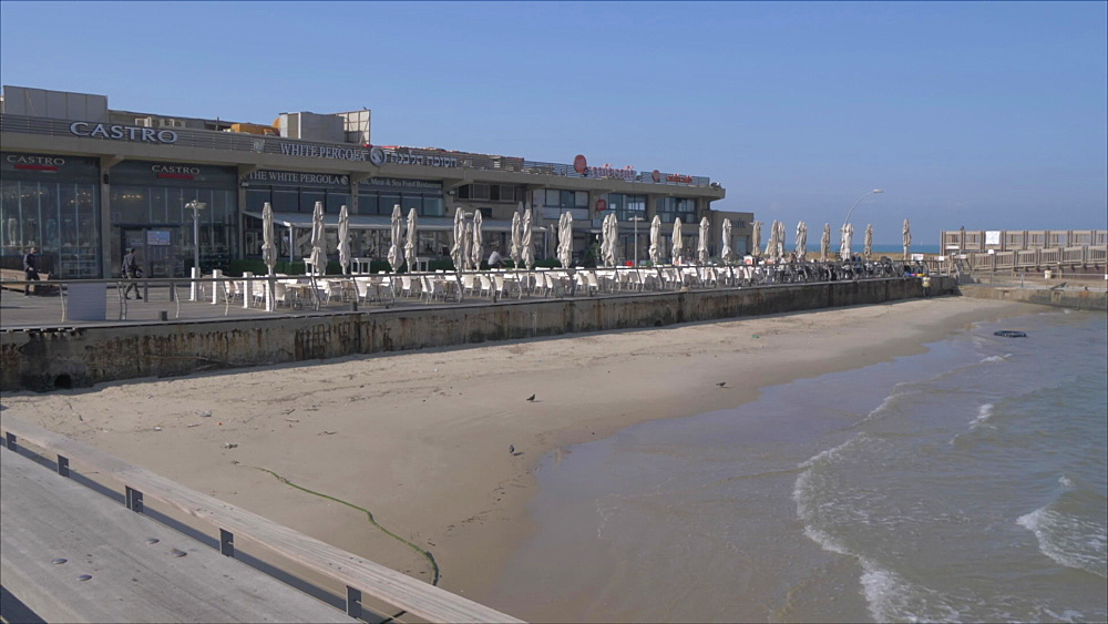 Sea and cafes in Old Tel Aviv Port Area, Tel Aviv, Israel, Middle East