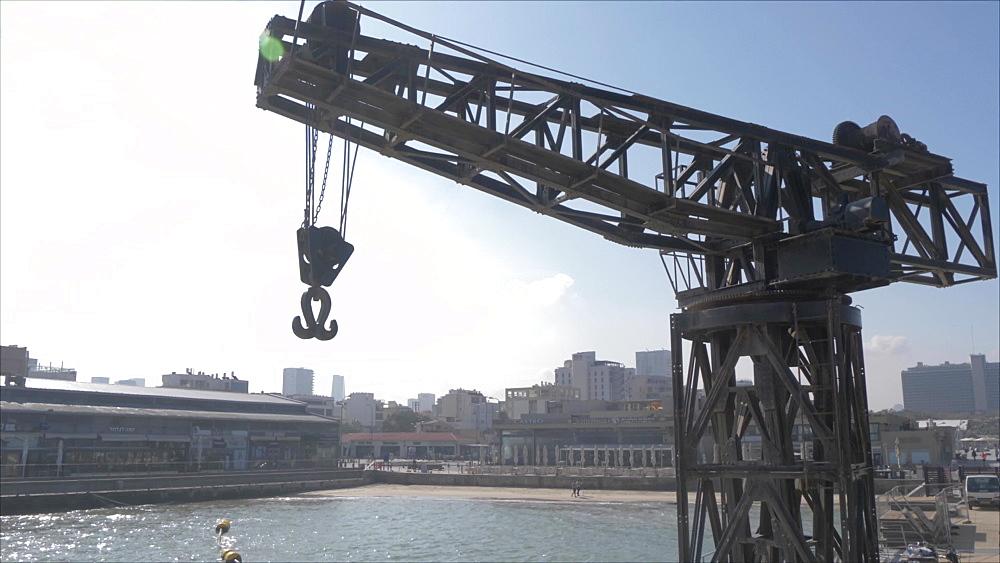Crane shot of sea and cafes in Old Tel Aviv Port Area, Tel Aviv, Israel, Middle East