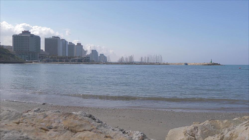 Metsitsim beach and skyline of Tel Aviv, Tel Aviv, Israel, Middle East