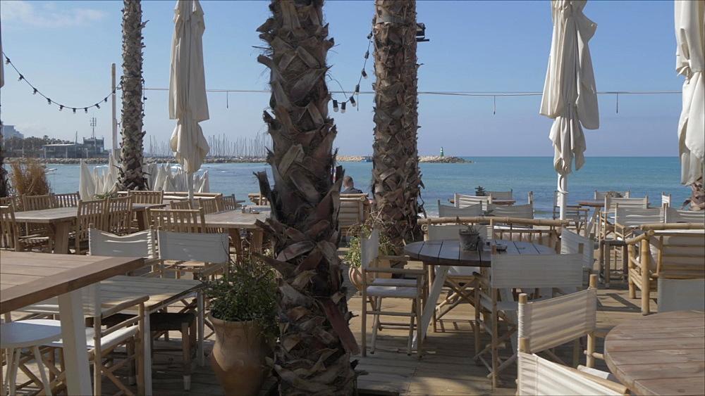 Cafe near Metsitsim beach and skyline of Tel Aviv, Tel Aviv, Israel, Middle East