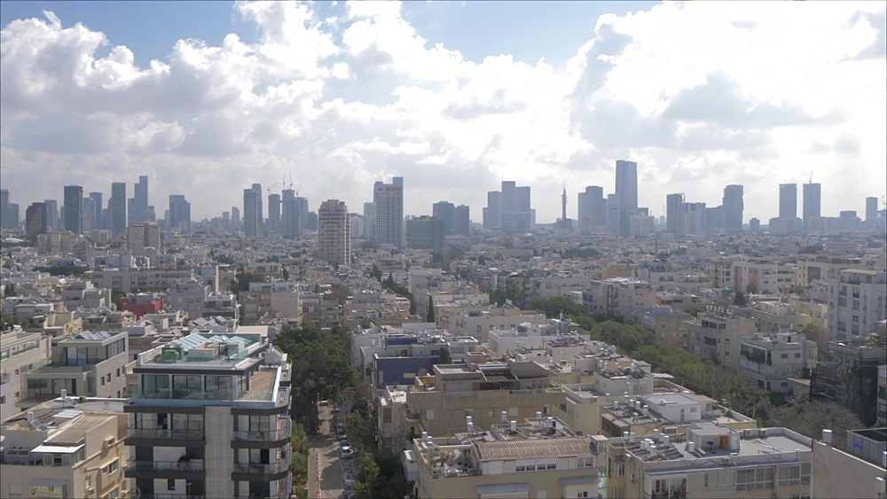 Pan of city skyline during daylight from hotel terrace, Tel Aviv, Israel, Middle East