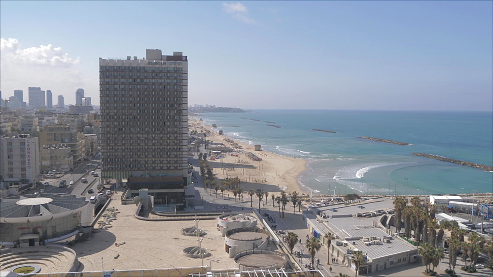 Pan of city skyline to the beaches during daylight from hotel terrace, Tel Aviv, Israel, Middle East
