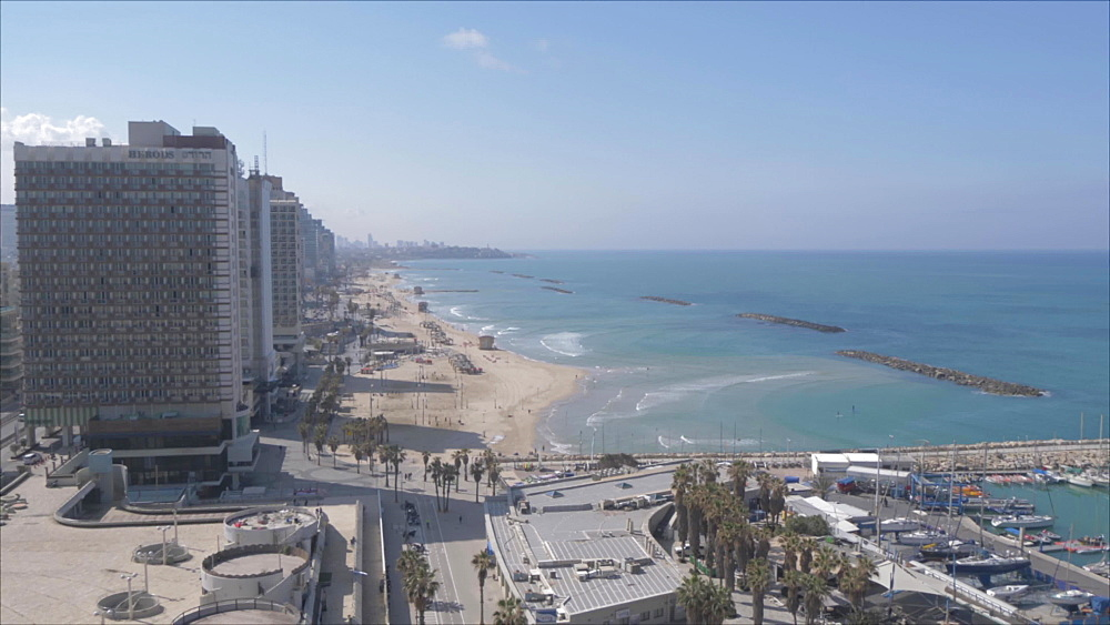 Pan of harbour to the beaches during daylight from hotel terrace, Tel Aviv, Israel, Middle East