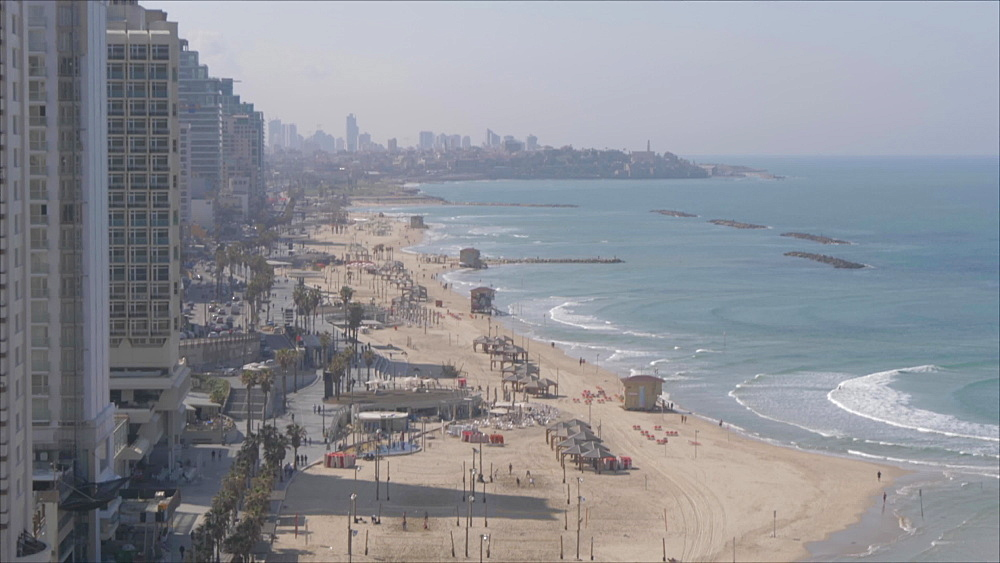 Still shot of city skyline and the beaches during daylight from hotel terrace, Tel Aviv, Israel, Middle East