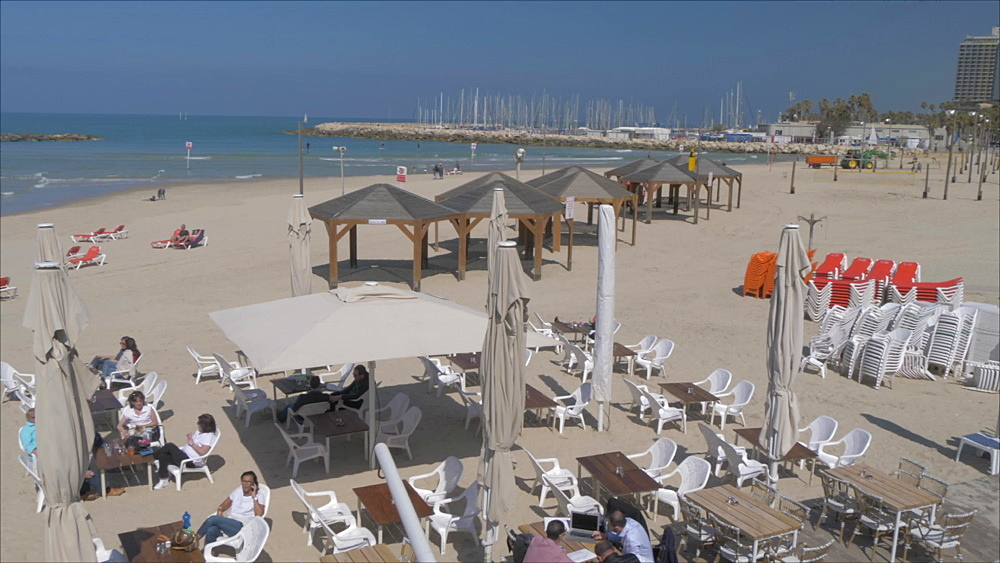 Beaches on a sunny day, Tel Aviv, Israel, Middle East