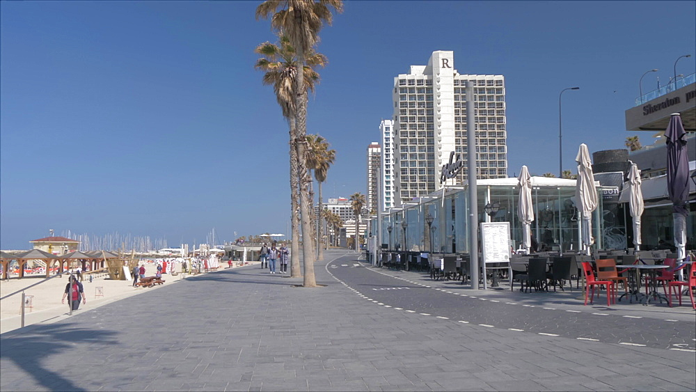 Sea front promenade on a sunny day, Tel Aviv, Israel, Middle East