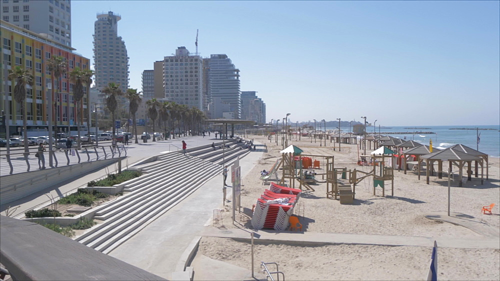Beaches and promenade on a sunny day, Tel Aviv, Israel, Middle East