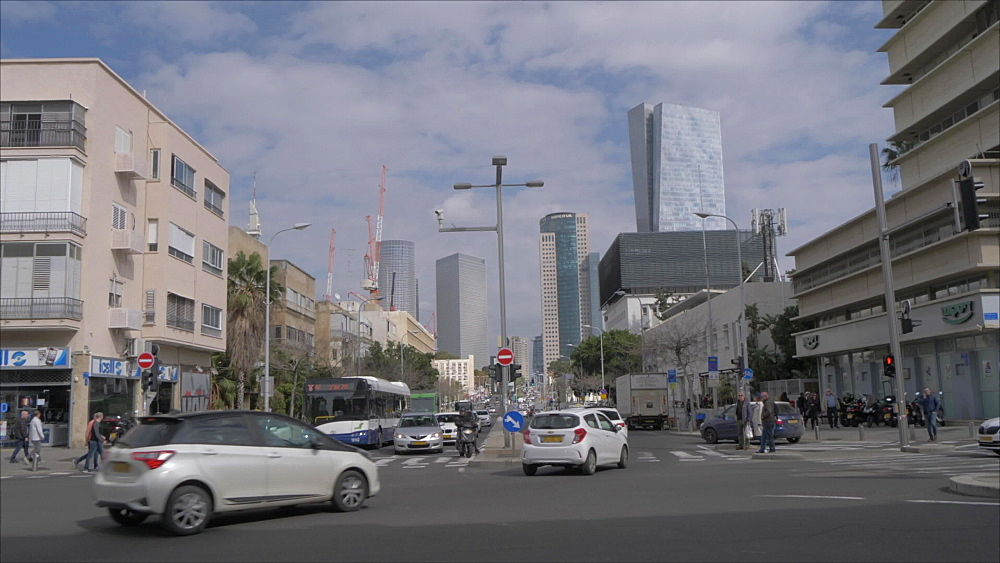 Buildings and Eliezer Kaplan Street, Tel Aviv, Israel, Middle East
