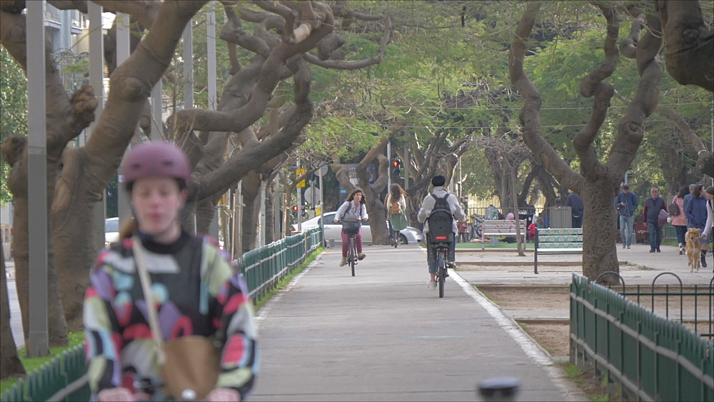 Cyclists and pedestrians on Rothschild Boulevard, Tel Aviv, Israel, Middle East